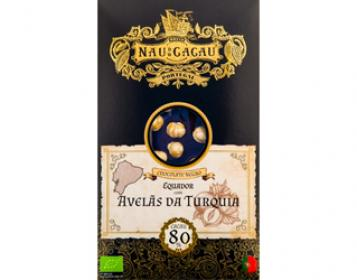 chocolate equador 80% c/avelãs da turquia nau do cacau 80gr