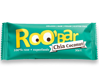 coconut and chia seeds bar gluten free roobar 30g