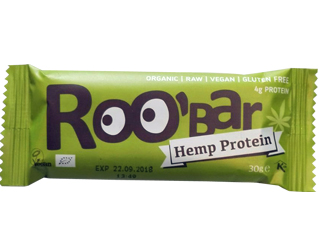 barrita proteina canhamo s/ glúten roobar 30gr