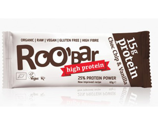 chocolate and vanilla protein bar gluten free roobar 60gr