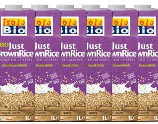 pack 6 brown rice drink gluten free isola bio 1L