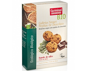 bolachas vegan c/pepitas de chocolate germinal 250gr