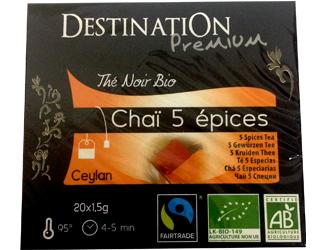 chá biológico 5 especiarias destination 20 x 1,5gr
