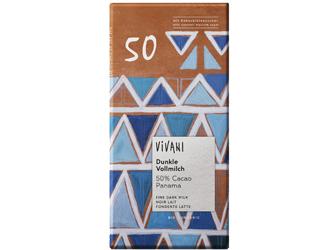 chocolate preto de leite 50% cacau Vivani 80g