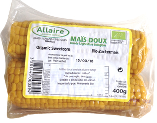 cooked vacuum sweetcorn allaire 400gr