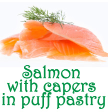 Salmon with capers in puff pastry
